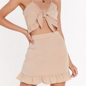 Crinkle High-Waisted Skirt and Top Set [Beige]
